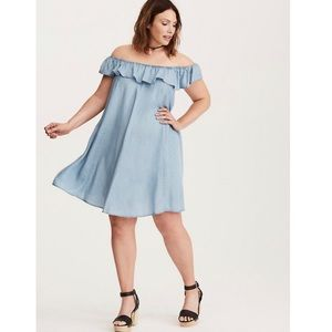 TORRID 1 1X Chambray Off Shoulder Trapeze Dress